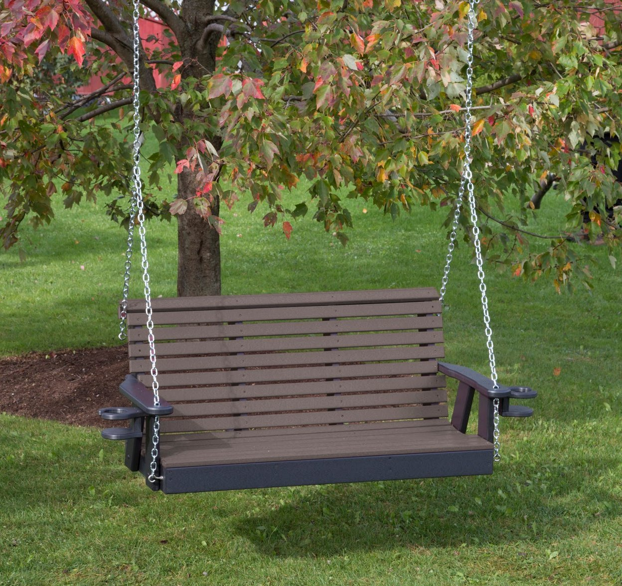 POLY LUMBER ROLL BACK Porch Swing with Cupholder arms Heavy Duty EVERLASTING PolyTuf HDPE - MADE IN USA - AMISH CRAFTED (5FT, WEATHERED WOOD)