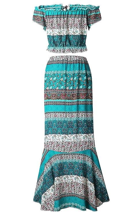 ... Conjunto Mujer Verano Playa Elegantes Chic Crop Tops Manga Corta + Largas  Faldas Vintage Estilo Etnico Boho Impresión Falda Vestidos  Amazon.es  Ropa  y ... 36e33f6a6934