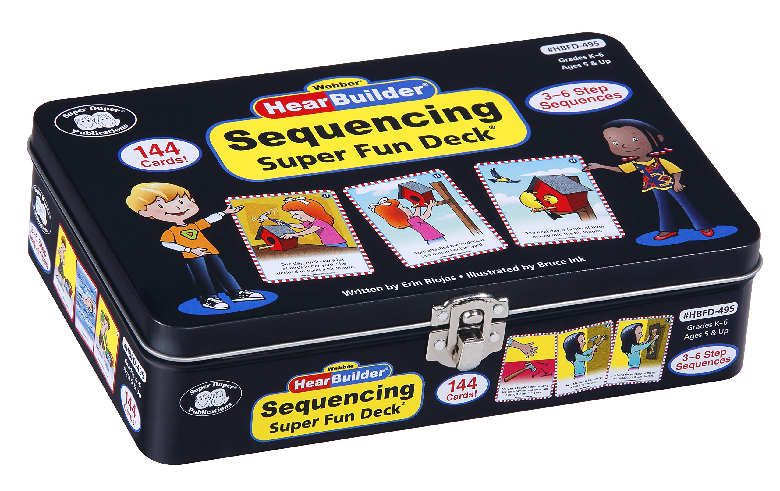 Super Duper Publications HearBuilder Sequencing Flash Card Fun Deck Educational Learning Resource for Children by Super Duper Publications