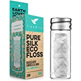 Biodegradable Dental Floss with a Refillable Glass Holder | Naturally Waxed with Candelilla Wax | 100% Compostable…