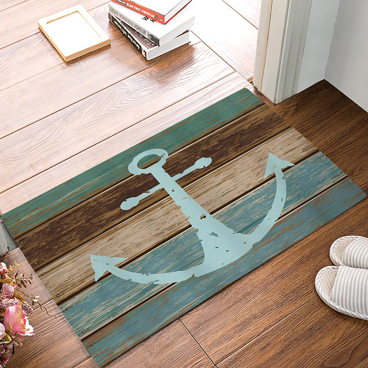 Sea Secret CHARM HOME Blue Nautical Anchor Rustic Old Barn Wood Doormats Non-Slip Indoor/Outdoor/Front Door Mat,23.6''x15.7''
