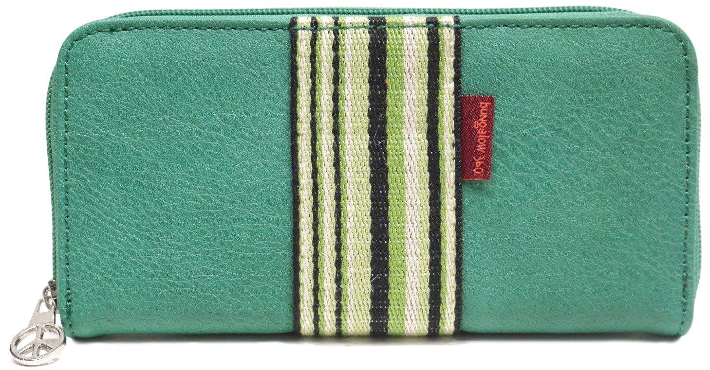 Bungalow360 Original Vegan Leather Striped Zip-Around Wallet (Grass)