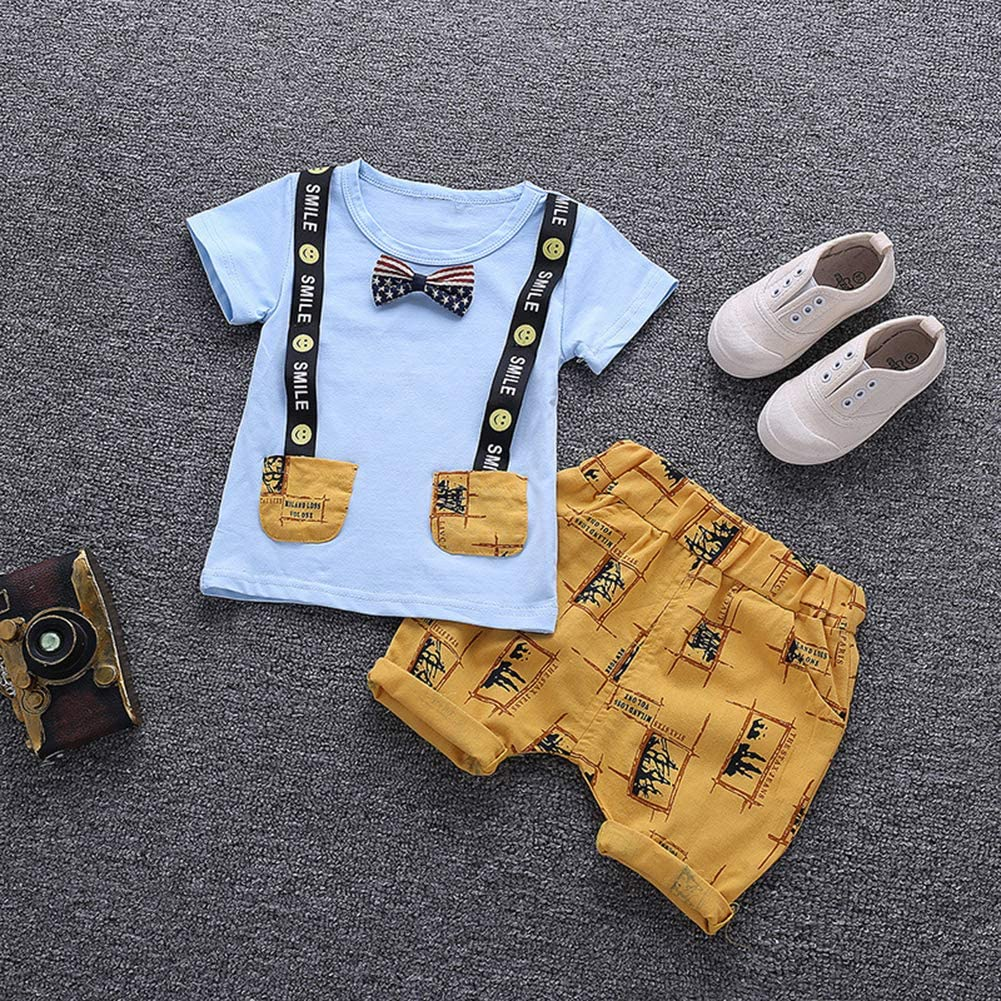 Taiguang 2Pcs//Set Kid Baby Boy Bowtie Simulation Suspenders Short Sleeve T-Shirt Shorts
