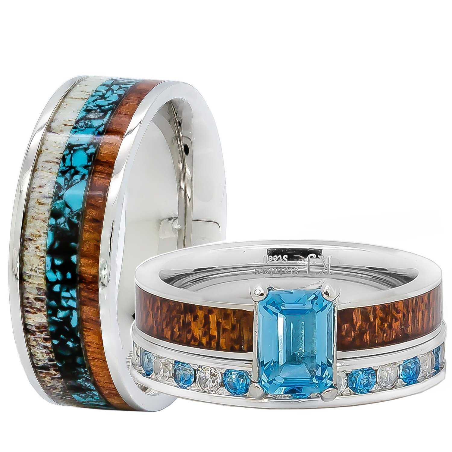 Amazon.com: His and Her Wedding Rings Set Natural Genuine Blue Topaz ...