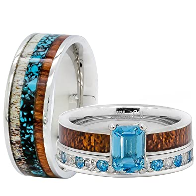 Amazon.com: His and Her Wedding Rings Set Natural Genuine Blue ...