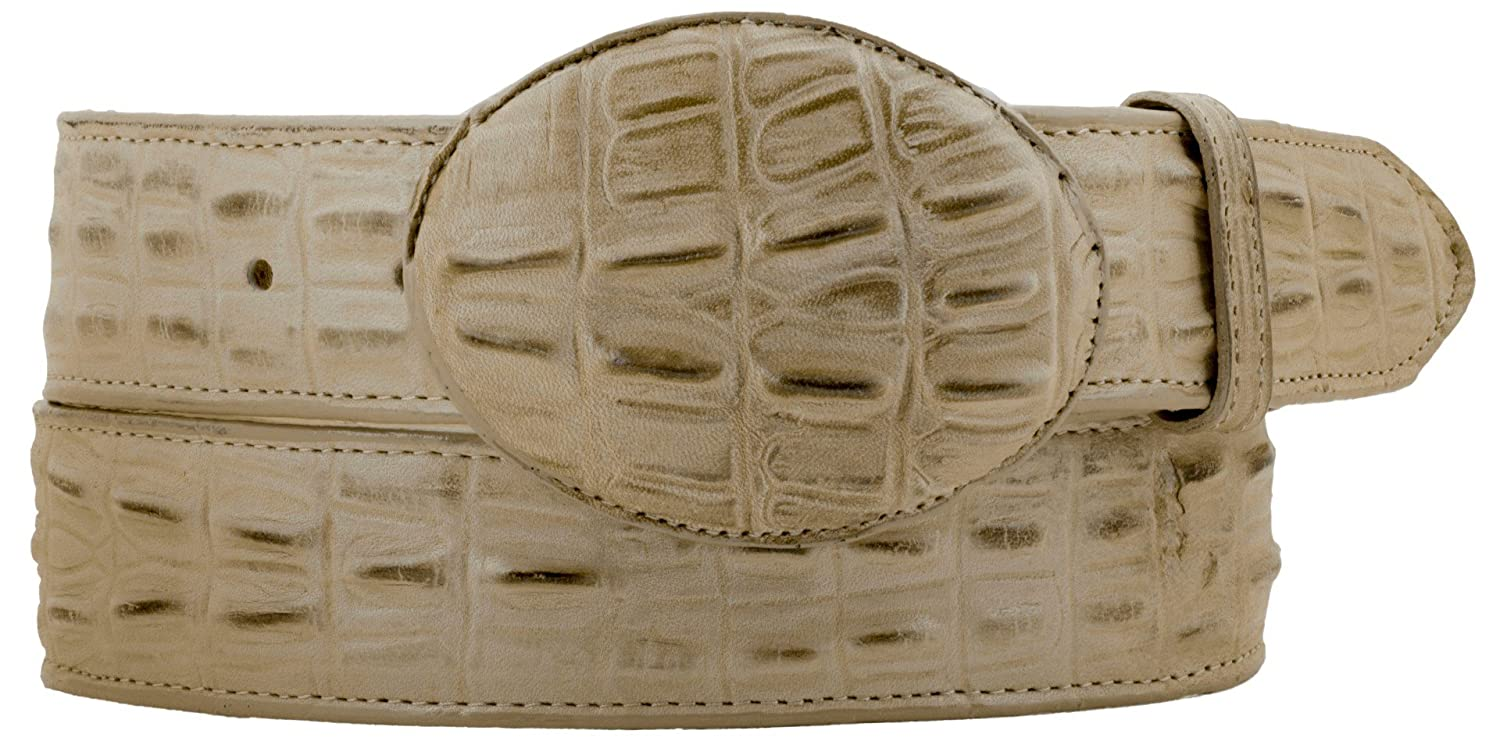 Cowboy Professional Mens Sand Crocodile Tail Leather Western Belt Round Buckle 32