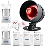 KERUI Standalone Home Office & Shop Security Alarm System Kit, Wireless Loud Indoor / Outdoor Weatherproof Siren Horn with Remote Control and Door Contact Sensor,Motion Sensor,Up to 110db