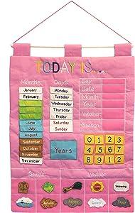 Alma's Designs Today is Children's Calendar Wall Chart Pink