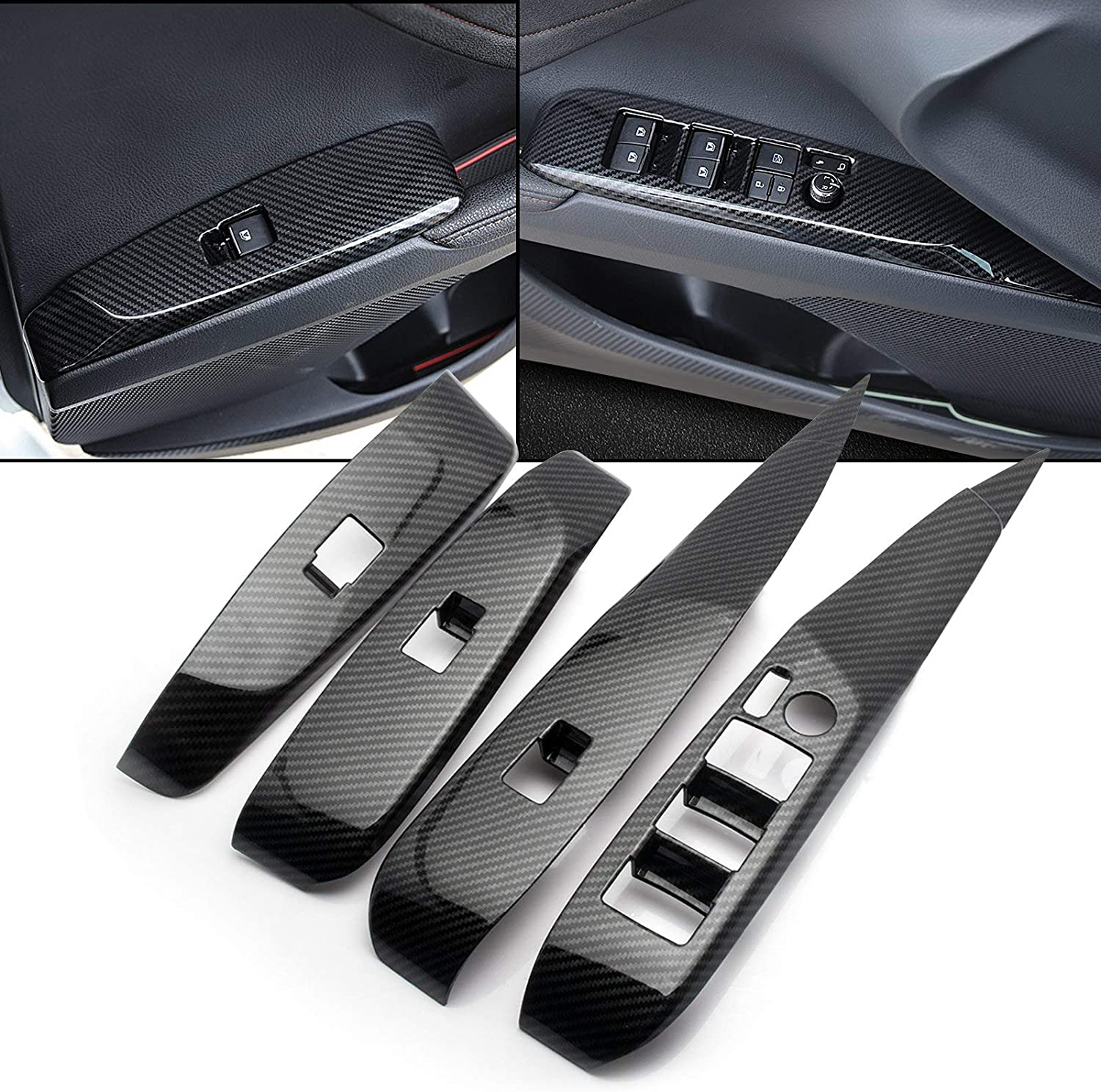 CKE Inner Door Handle Decoration Cover Stainless Steel Door Bowl Trim Sticker For Toyota Camry 2018 2019 2020 - Blue(4pcs