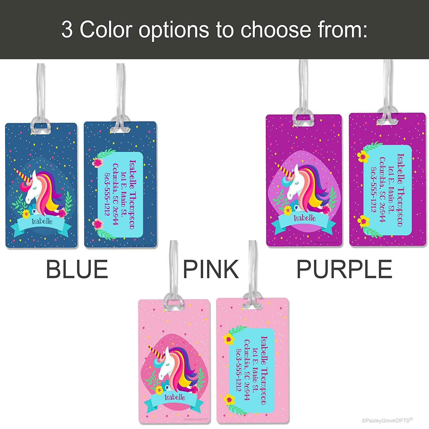 Blue Pink or Purple Personalized Unicorn Luggage Tag for Girls