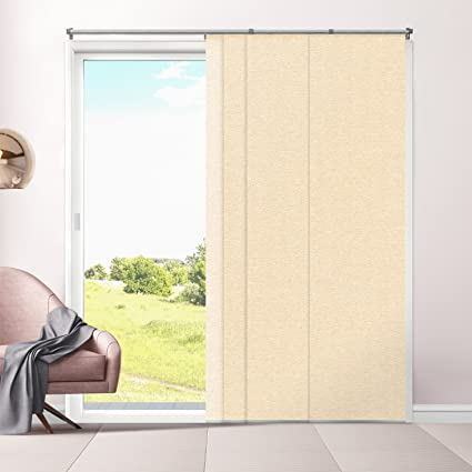 Chicology Adjustable Sliding Panels, Cut to Length Vertical Blinds, Eclipse Honeymilk (Room Darkening