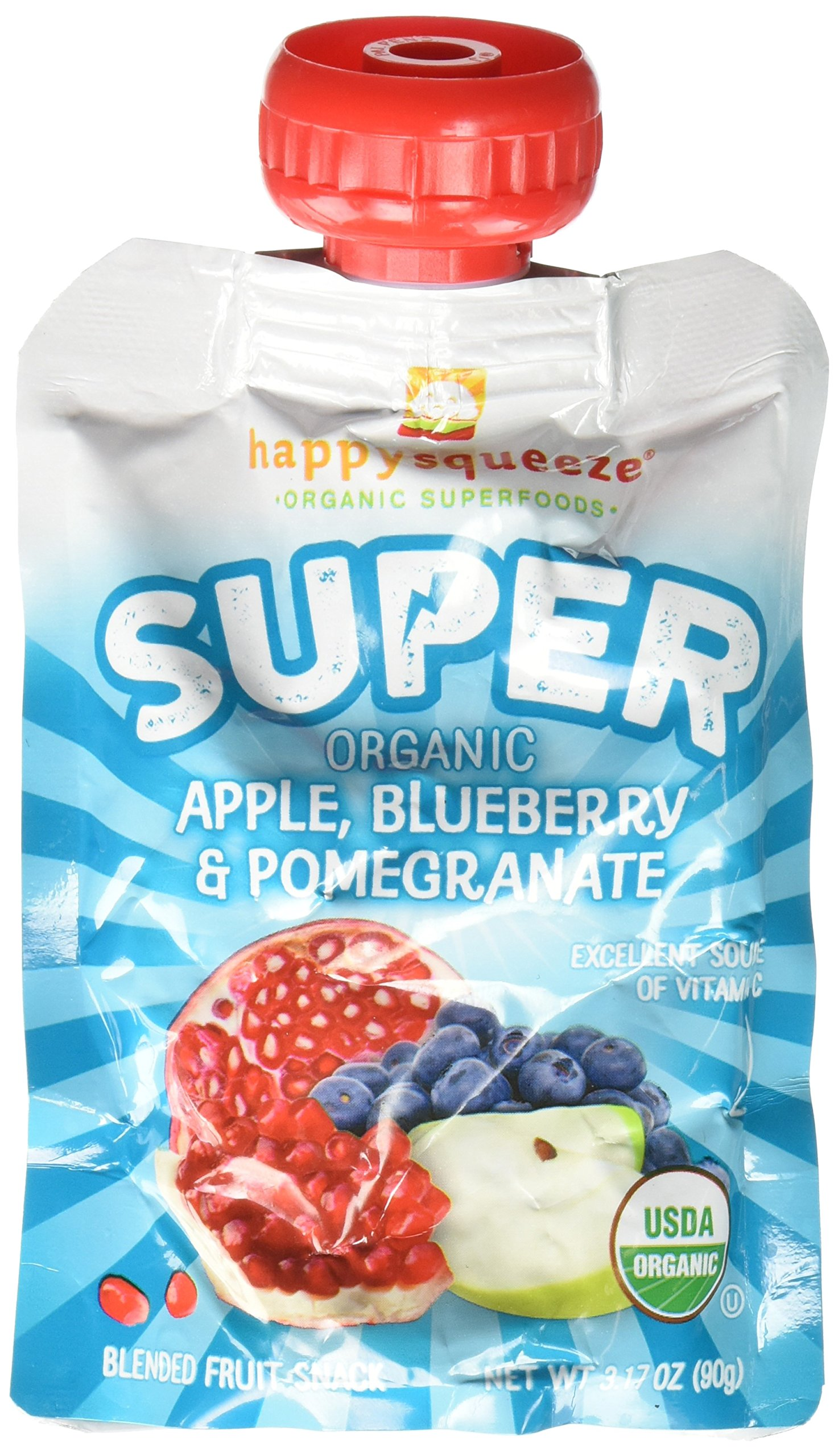 Happy Family happy squeeze Smoothies - Apple Blueberry Pomegranate, 3.17 Oz, 4 Count (Pack of 4)