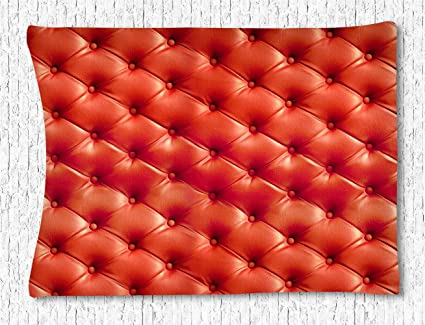 CELYCASY Pattern Wall Tapestry Decor, Red Leather Sofa Geometric Pattern  Tapestry Wall Blanket Wall Decor