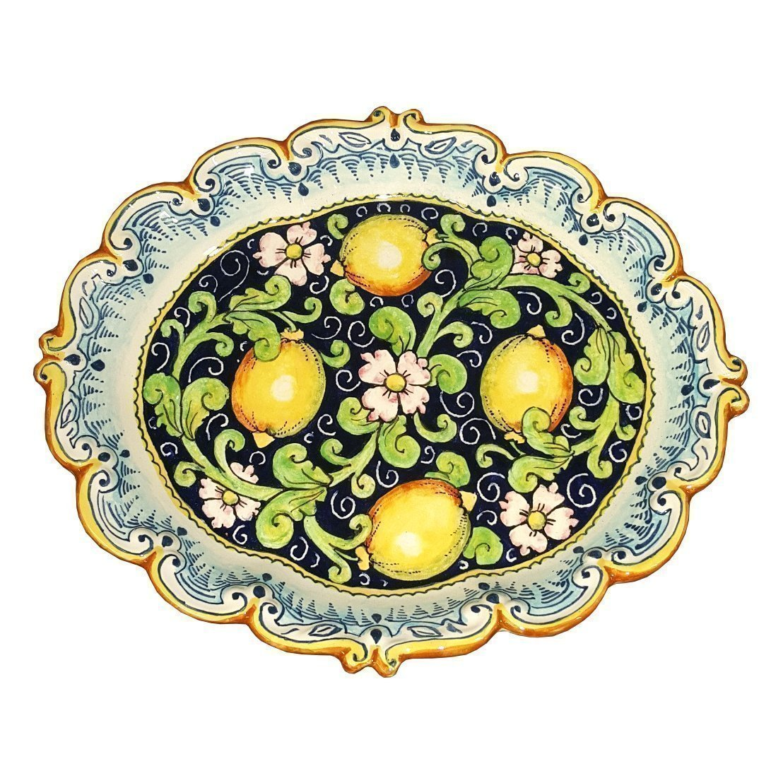 CERAMICHE D'ARTE PARRINI - Italian Ceramic Tray Serving Plate Lemons Art Pottery Paint Made in ITALY Tuscan