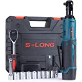 "S-LONG Cordless Electric Ratchet Wrench Set, 3/8"" 400 RPM 40 Ft-lbs 12V Power Ratchet Driver with 10 Sockets, 2000mAh…"