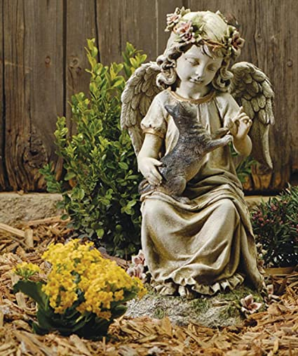 16u0026quot; Josephu0027s Studio Angel With Kitten Outdoor Garden Figure Statue