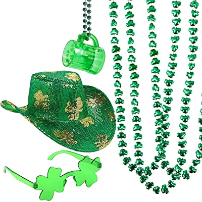 4E's Novelty St Patrick's Day Costume Party Accessories, Green Shamrock Sequined Cowboy Hat, 3 Shamrock Beaded Necklaces, 1 Beer Mug Necklace, 1 Irish Clover Sunglasses, Leprechaun Party: Clothing