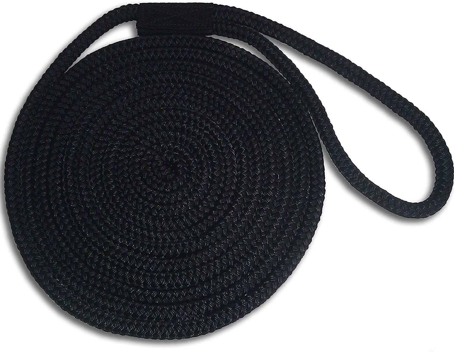 """Black 5//8/"""" x 35/' Double Braid Nylon Dock Lines Made in USA"""