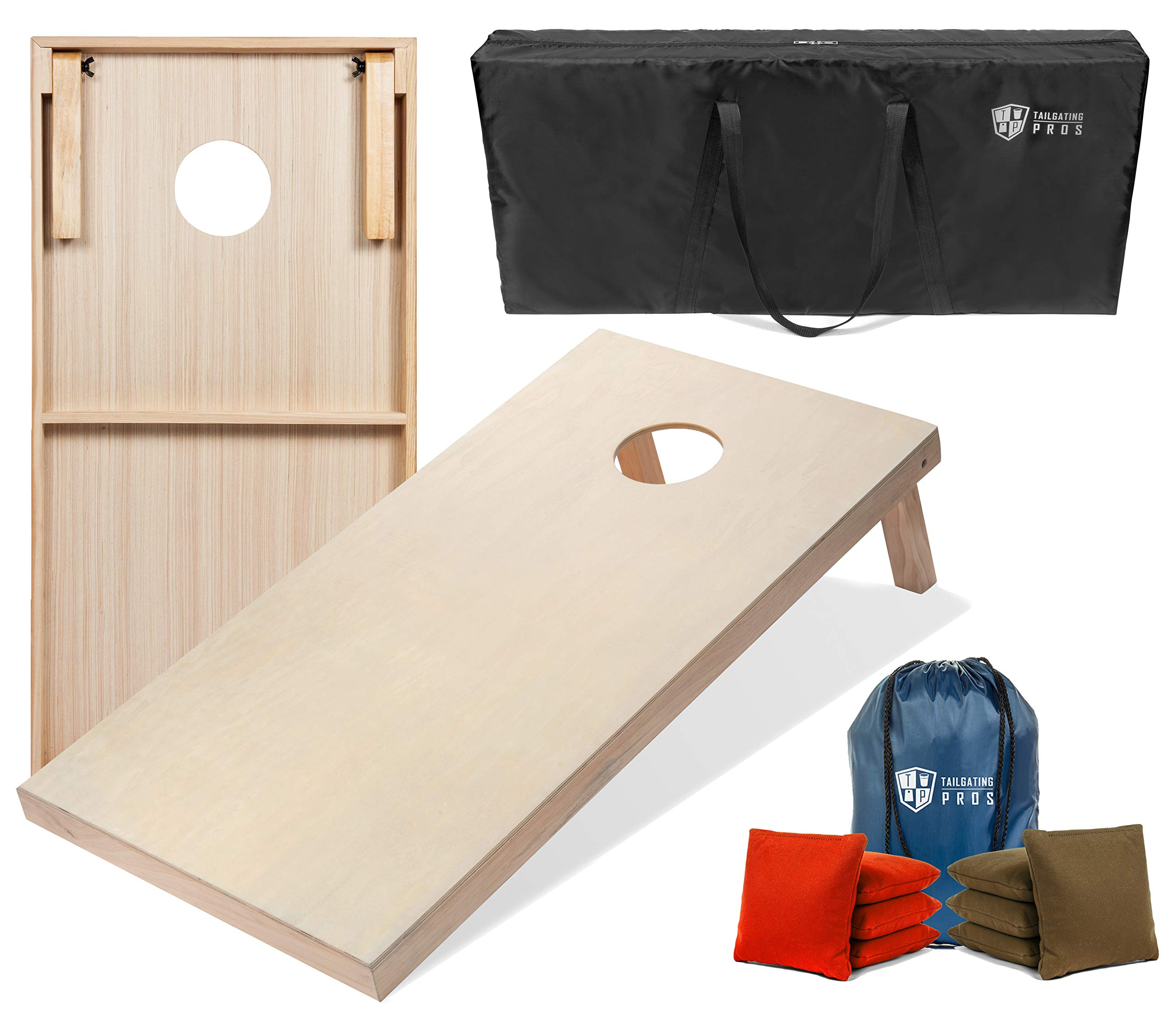 Tailgating Pros Cornhole Boards - 4'x2' & 3'x2' Cornhole Game w/Carrying Case & Set of 8 Corn Hole Bags - 150+ Color Combos! Optional LED Lights by Tailgating Pros