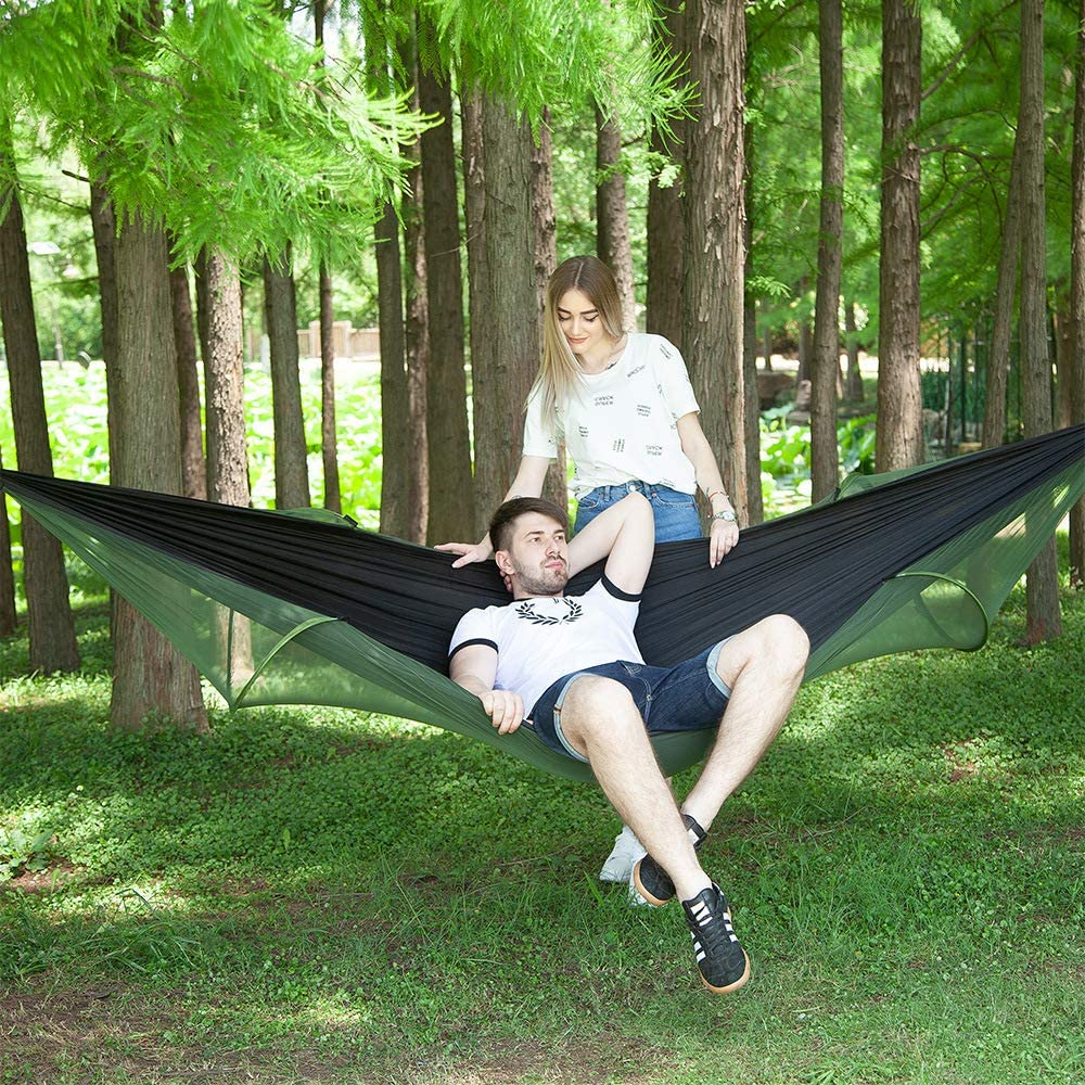 Double Person Nylon Camping Hammocks with Net Beach Hiking Backyard Tree Straps /& Carabiners for Outdoor TOPCHANCES Upgrade Hammock with Mosquito Net Camping