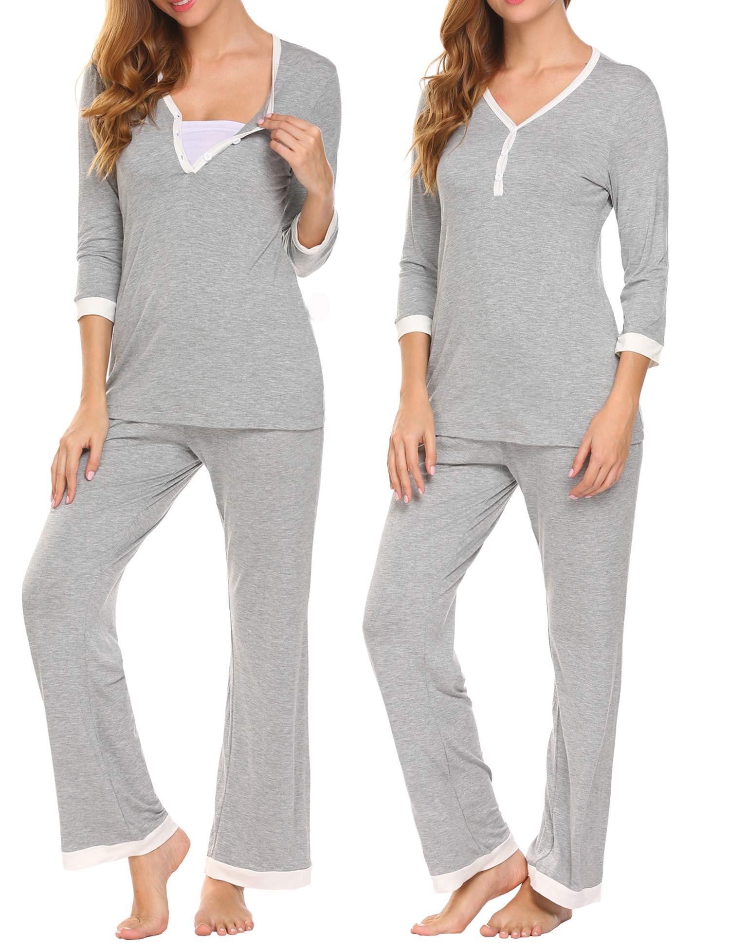 MAXMODA Women's Soft 3/4 Sleeve Maternity Nursing Hospital Set Sleepwear Pajamas Set Breastfeeding Nightgown Set S-XXL (Large, Sterling Pewter)