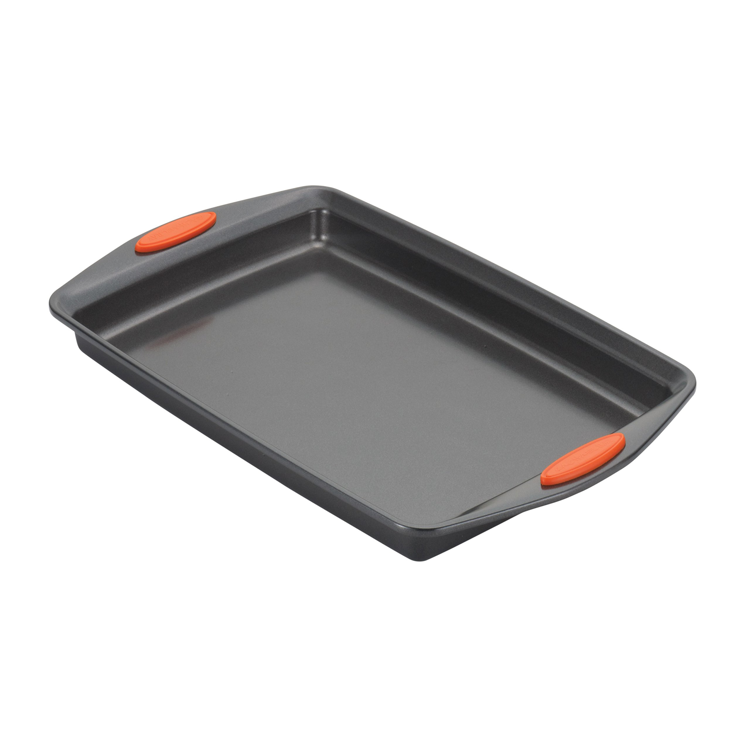 Rachael Ray Yum-o! Nonstick Bakeware 3-Piece Oven Lovin' Cookie Pan Set, Gray with Orange Silicone Grips by Rachael Ray (Image #3)