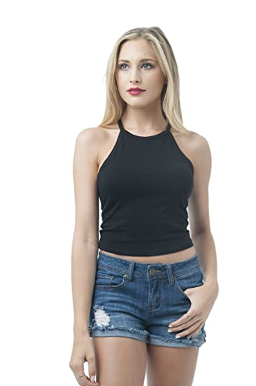 f9be08bfe8ae Sleeveless High Neck Halter Cami Henly Crop Top