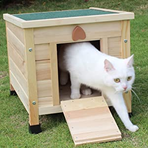 ROCKEVER Cat House Outside, Weatherproof Rabbit Hutch Small, Wooden Small Pet House and Habitats