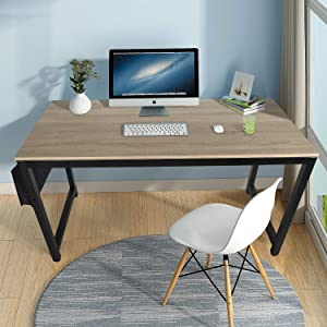 Computer Desk, Wood Home Office Desks for Bedroom 55 Inch Long Simple PC Laptop Table with Cloth Storage for Small Spaces Indoor Organization with Metal Table Legs Decor Furniture, Light Brown