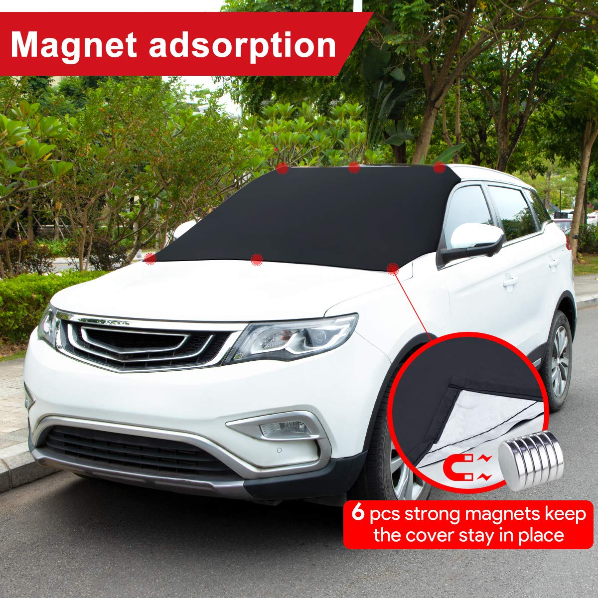DANYING Windshield Snow Cover Magnetic Snow Protector Windscreen Frost Cover for SUV Truck and Normal Car