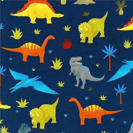 18613-4 Bleu Robert Kaufman préhistorique aventure Dinosaure 100/% coton atkd