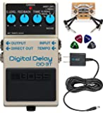 BOSS DD-3T Digital Delay Guitar Effects Pedal with Tap Tempo Bundle with Blucoil Slim 9V Power Supply AC Adapter, 2-Pack…