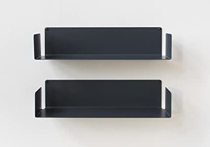 Teebooks set di mensola acciaio grigio cm