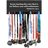 Keep running the race that is set before you with endurance - Hebrews 12:1 - Running Medal Display - Black 12 Hooks
