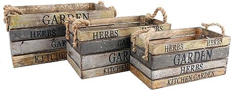 Juego de 3 cajas de madera - Jardín y Cocina - Estilo Vintage: Amazon.es: Hogar