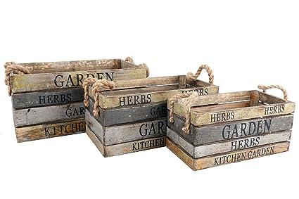 Juego de 3 cajas de madera - Jardín y Cocina - Estilo Vintage
