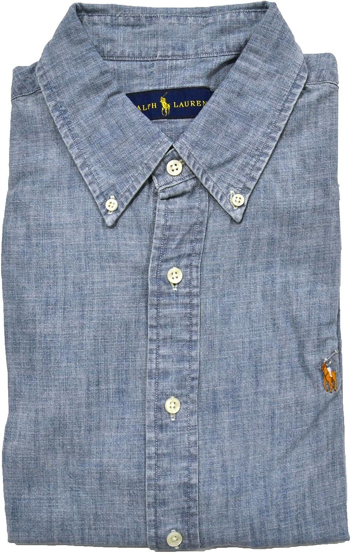 Small Chambray Polo Ralph Lauren Mens Short Sleeve Denim Sport Shirt