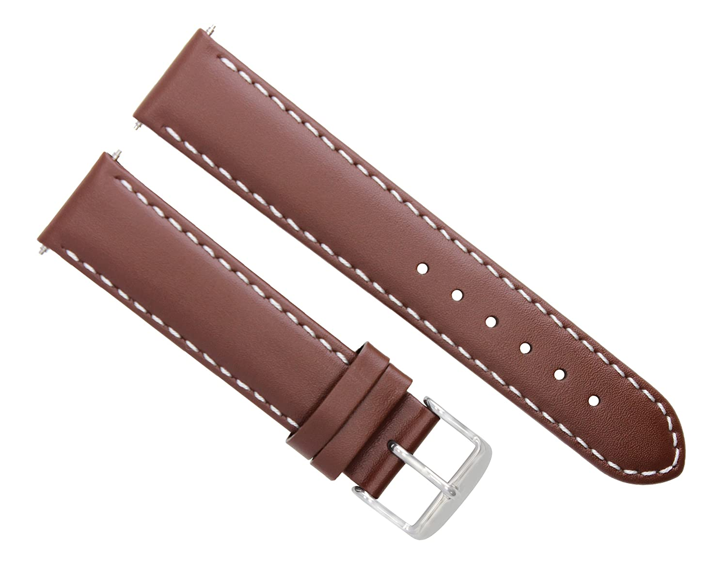18 – 20 – 22 – 24 mmレザースムースバンドストラップClasp for Franck Muller l/brown # 4 19mm-18mm Light Brown with white stitching  Light Brown with white stitching 19mm-18mm B07F1Z5R7L