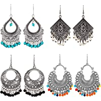 YouBella Stylish Party Wear Jewellery Oxidized Silver Jhumkis Earrings for Women (Multi-Colour)(YBEAR_32196)