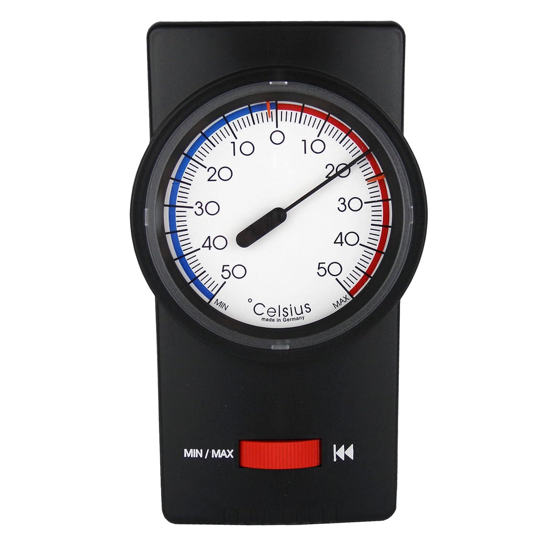 Minmax termómetro negro. termómetro jardín bimetal espacio interior - exterior - con puntero se arrastra analógico Lantelme