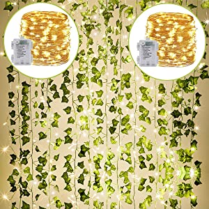 KASZOO 24Pack / Each 82 inch, Artificial Ivy Garland Fake Plants with 160 LED String Light, Green for Wedding Party Garden Outdoor Greenery Wall Decoration