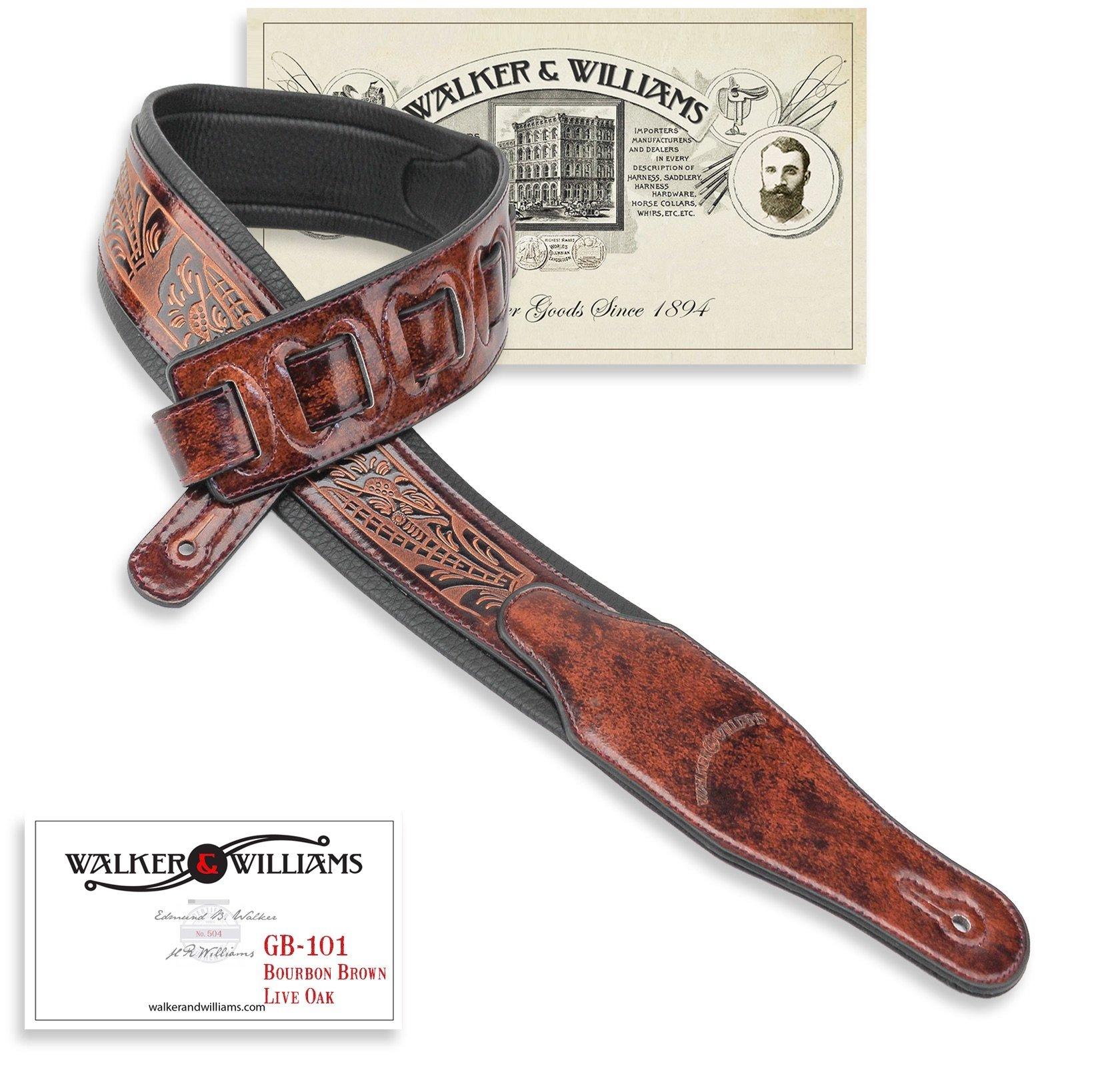 Walker & Williams GB-101 Bourbon Brown Padded Leather Strap Classic Live Oak Pattern by Walker & Williams
