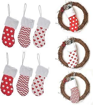 HUAN XUN 6 Burlap Christmas Stockings Decoration Set