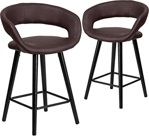 Flash Furniture 2 Pk. Brynn Series 24'' High Contemporary Cappuccino Wood Counter Height Stool