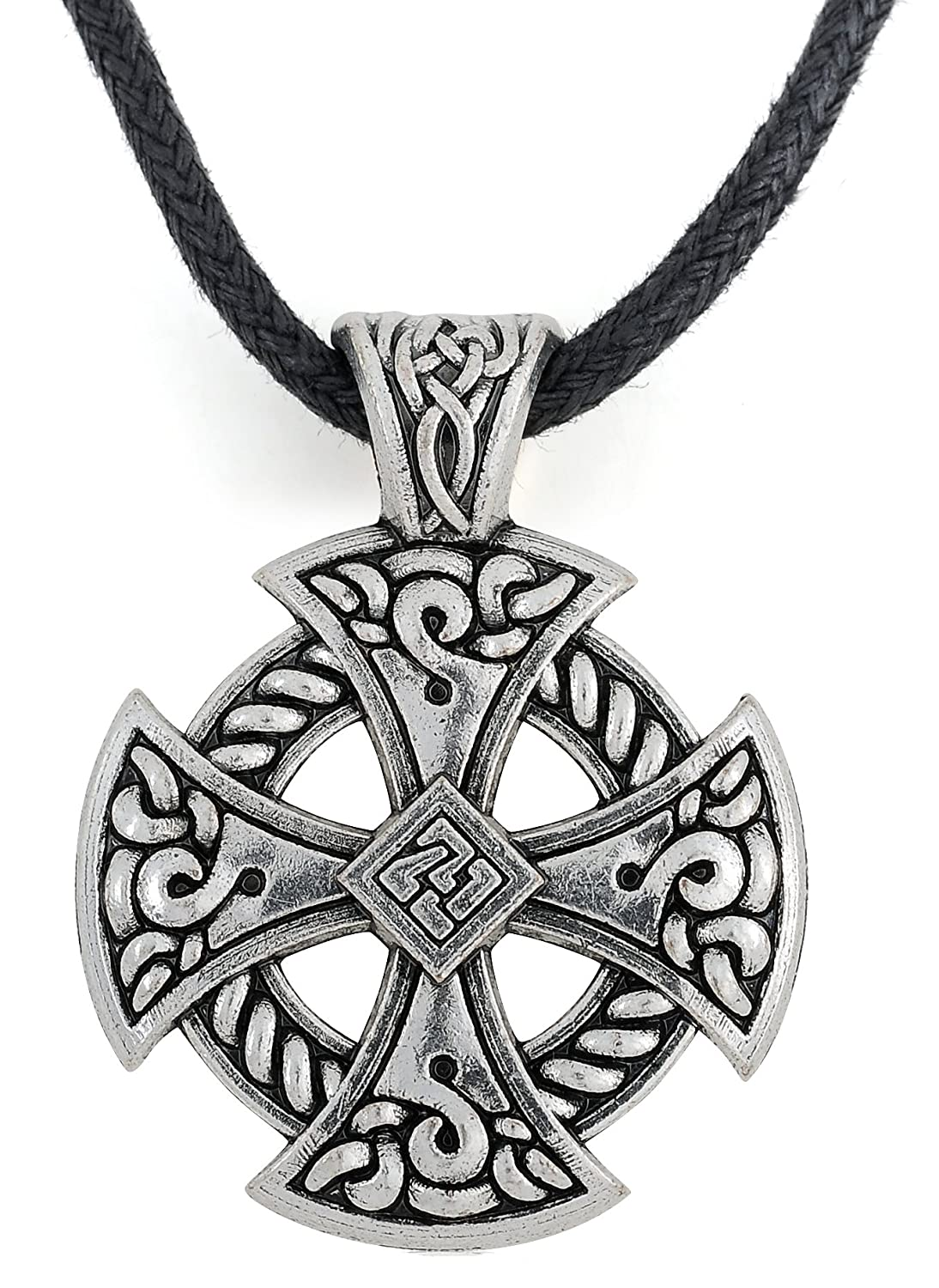 Ancient Celtic Cross Knotwork Hammer Pendant Irish Necklace Jewelry for Mens