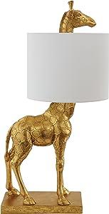 Creative Co-Op DA7565 Giraffe Lamp with Linen Shade, Gold