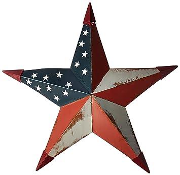 CWI Gifts Americana Metal Barn Star Wall Decor, 18 Inch