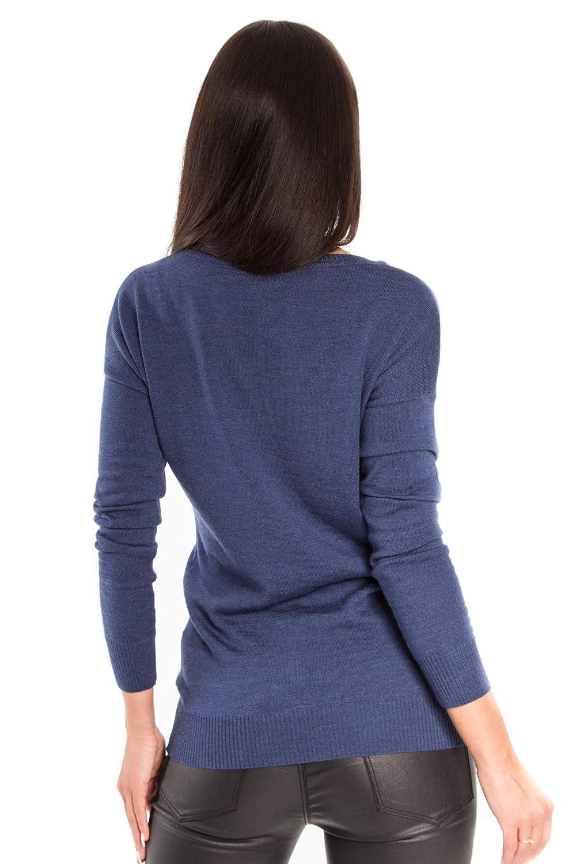KNITTONS Women Merino Wool V Neck Sweater Oversized Lightweight Pullover