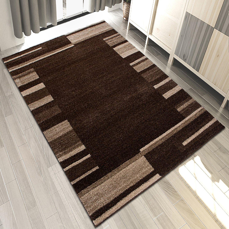 Carpeto Designer Teppich Wohnzimmer Modern Gestreift Kurzflor Design In Braun Beige (180x260 cm)