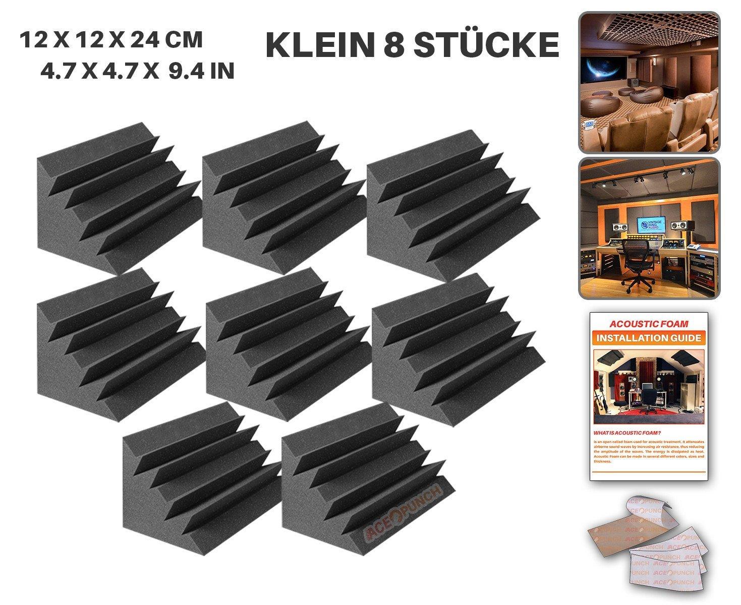 Ace Punch 8 Stücke Bass Trap Absorber Akustikschaumstoff DIY Entwurf Mit Freiem Klebestreifen 12 X 12 X 24 cm (4.7 X 4.7 X 9.4 in) AP1133